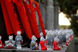 Fox dolls at Inari Shrines in Japan